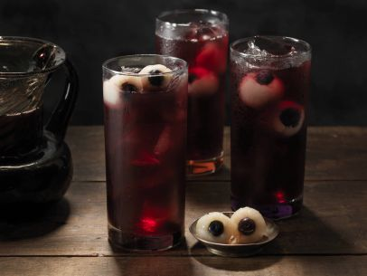 Halloween punch with eyeballs