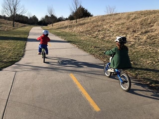 Cruising on balance bikes